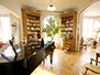 Piano room with library