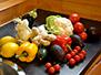 Vegetable bounty in kitchen